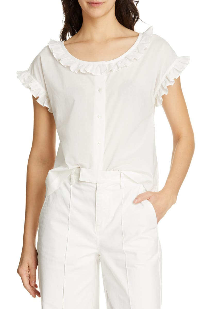 ALEX MILL Ruffle Blouse, Main, color, 100
