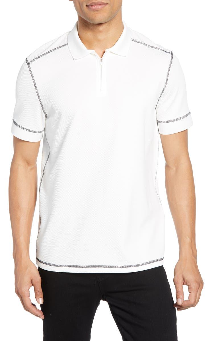 VINCE CAMUTO Slim Fit Zip Polo, Main, color, WHITE W/ BLACK CONTRAST