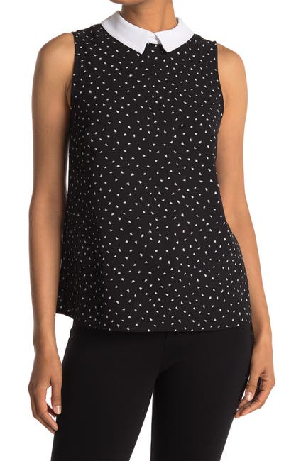 Image of CeCe by Cynthia Steffe Contrasting Collar Tank