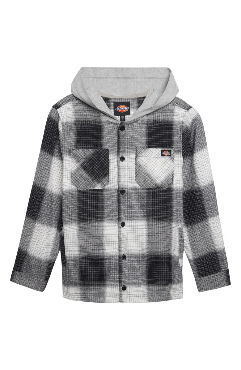 DICKIES Plaid Hooded Flannel Shirt, Main, color, BLACK/ WHITE