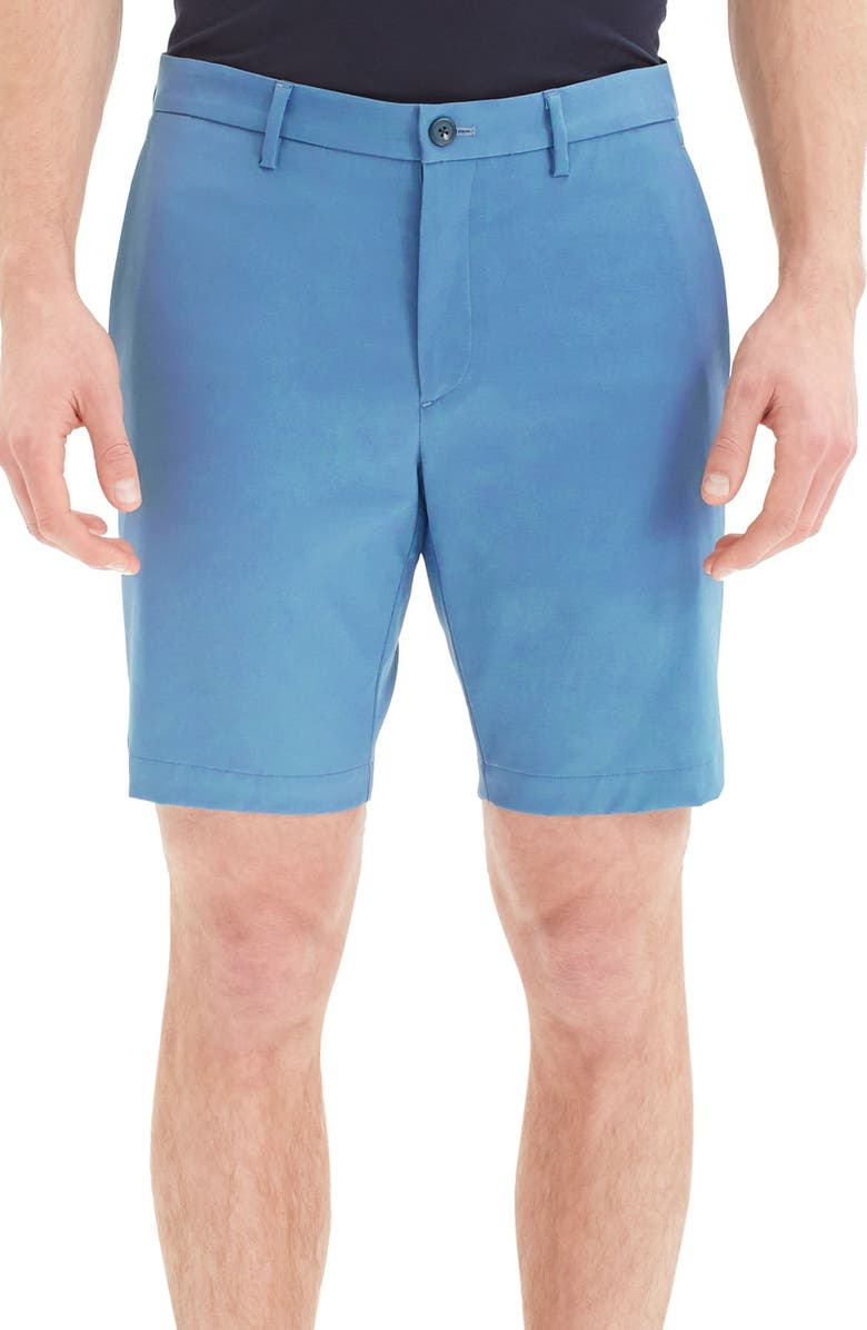 THEORY Zaine Neoteric Slim Fit Shorts, Main, color, AZURE