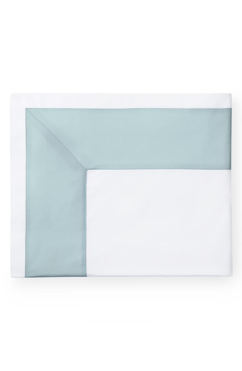 SFERRA Casida 200 Thread Count Flat Sheet, Main, color, WHITE/ POOLSIDE