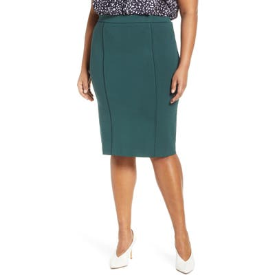Plus Size Eloquii 9-To-5 Stretch Pencil Skirt, Green