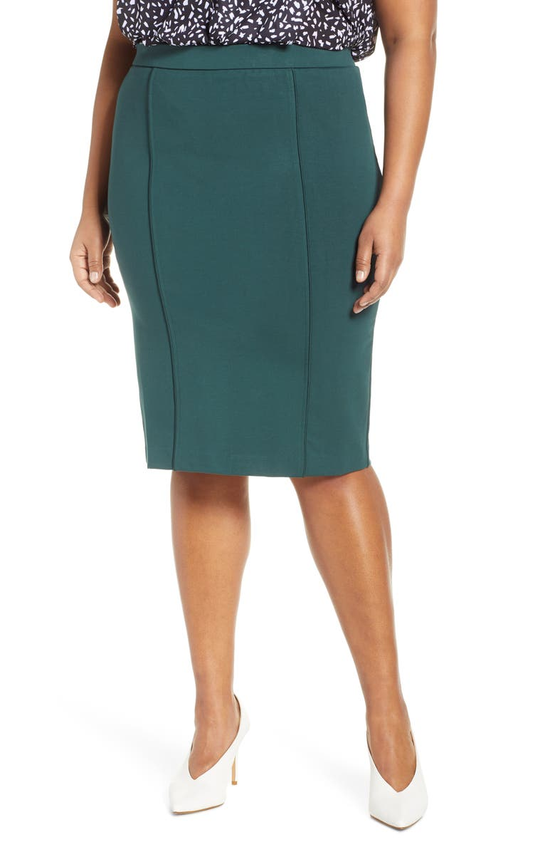 ELOQUII 9-to-5 Stretch Pencil Skirt, Main, color, BLACK FOREST