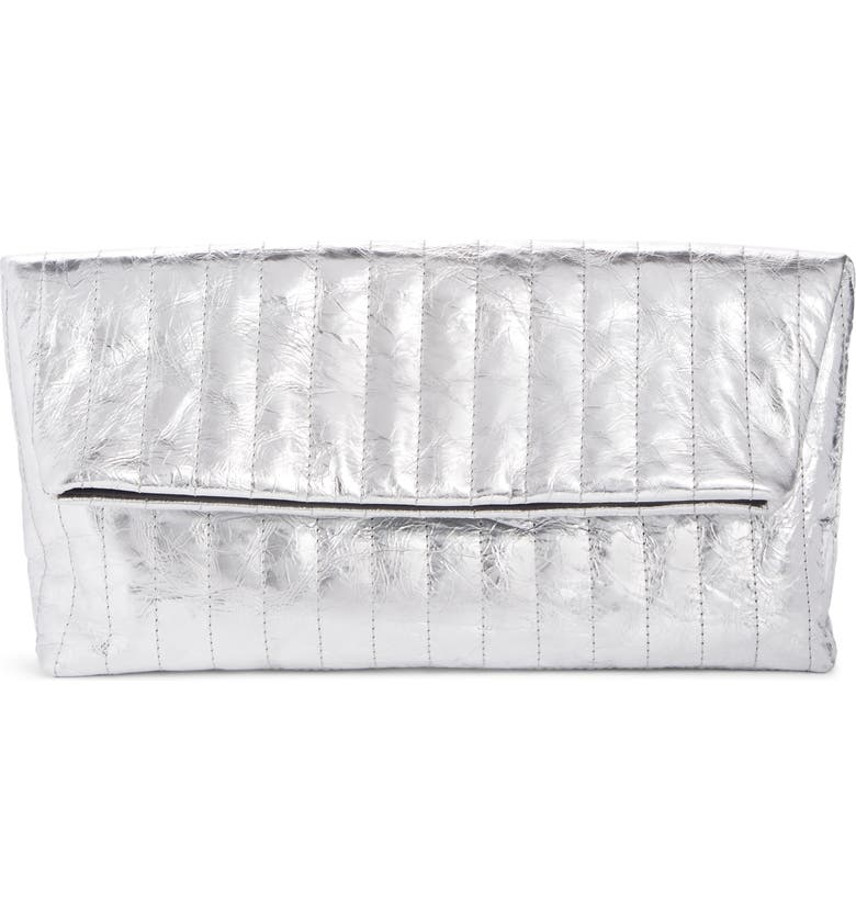 DRIES VAN NOTEN Metallic Quilted Leather Foldover Clutch, Main, color, SILVER