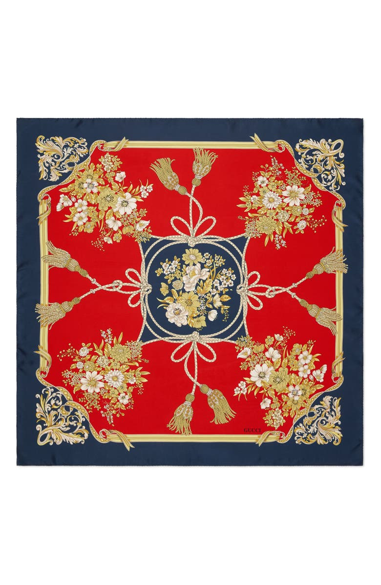 GUCCI Lady Intrigue Square Silk Scarf, Main, color, 600