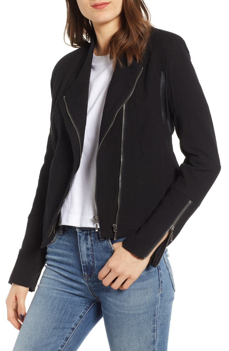 BLANKNYC Mesh Detail Crepe Jacket, Main, color, 001