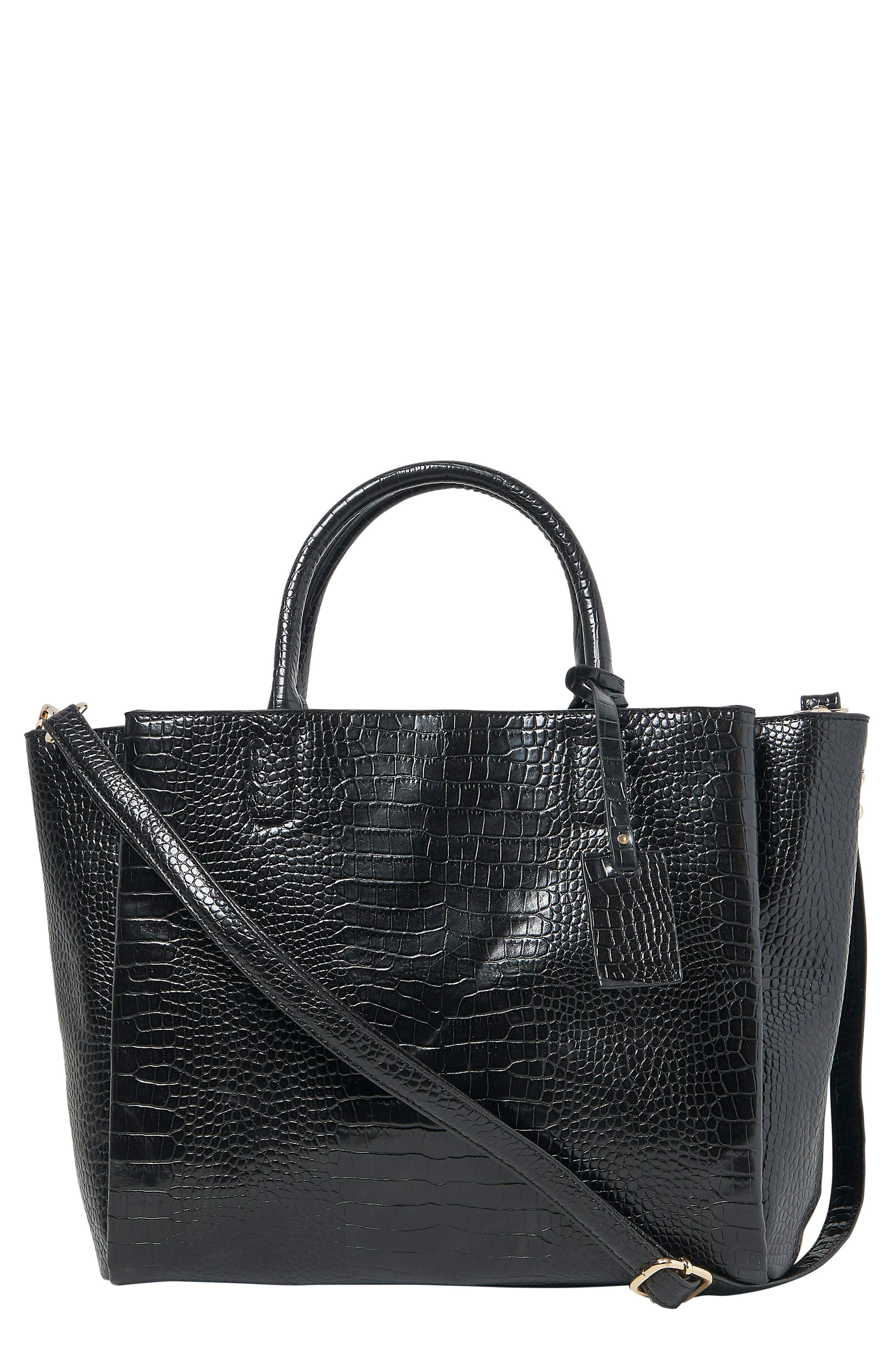 My World Croc-Embossed Vegan Leather Tote, Main, color, BLACK
