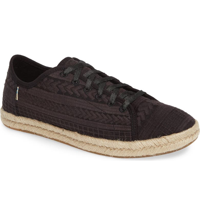 TOMS Lena Espadrille Sneaker, Main, color, BLACK ARROW MESH FABRIC