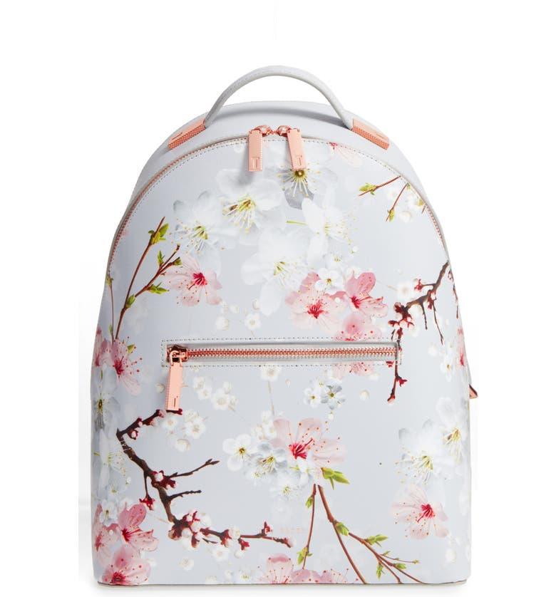 TED BAKER LONDON Flower Print Leather Backpack, Main, color, 020