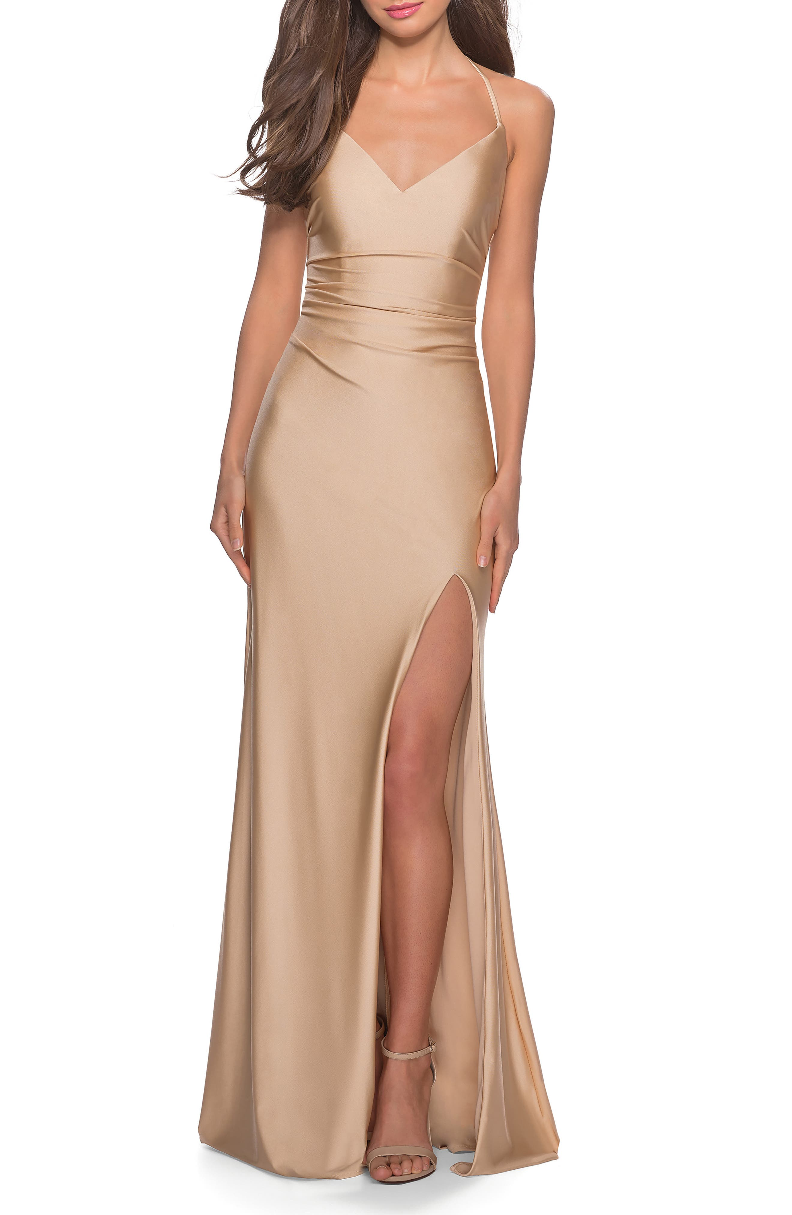 La Femme Cross Back Satin Jersey Gown, Beige