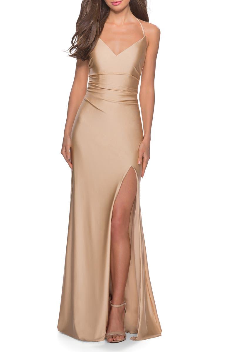 LA FEMME Cross Back Satin Jersey Trumpet Gown, Main, color, NUDE