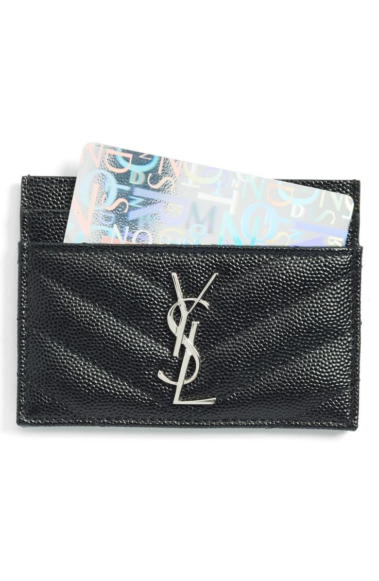 SAINT LAURENT 'Monogram' Credit Card Case, Main, color, NOIR