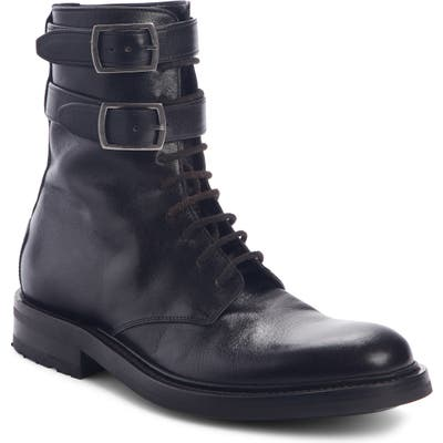 Saint Laurent Double Buckle Combat Boot - Black