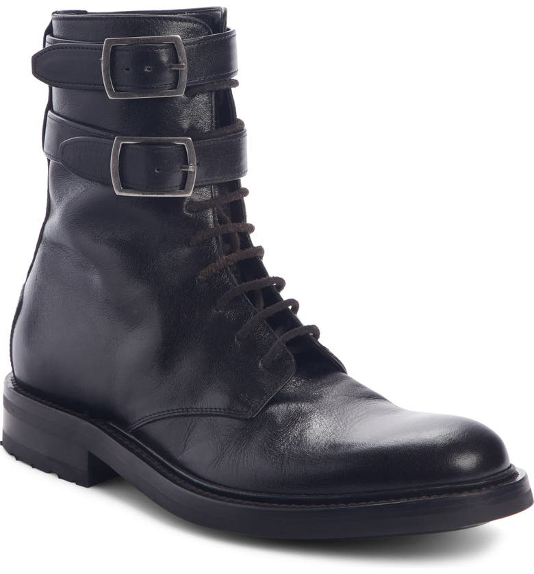 SAINT LAURENT Double Buckle Combat Boot, Main, color, BLACK