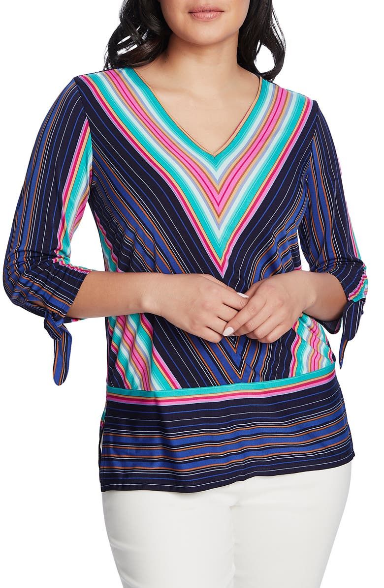 CHAUS Stripe Tie Cuff Top, Main, color, EVENING NAVY