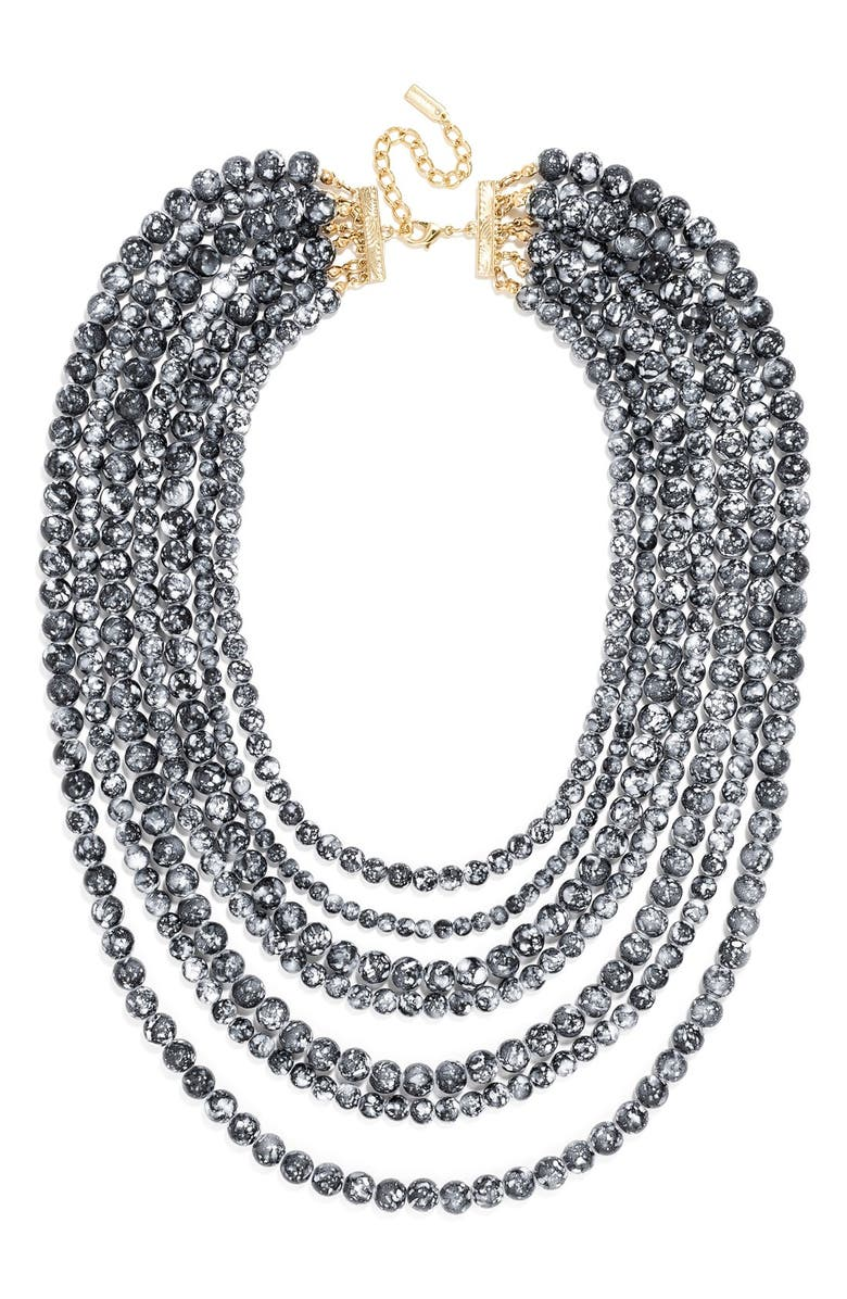 BAUBLEBAR 'Bold' Multistrand Beaded Statement Necklace, Main, color, 001
