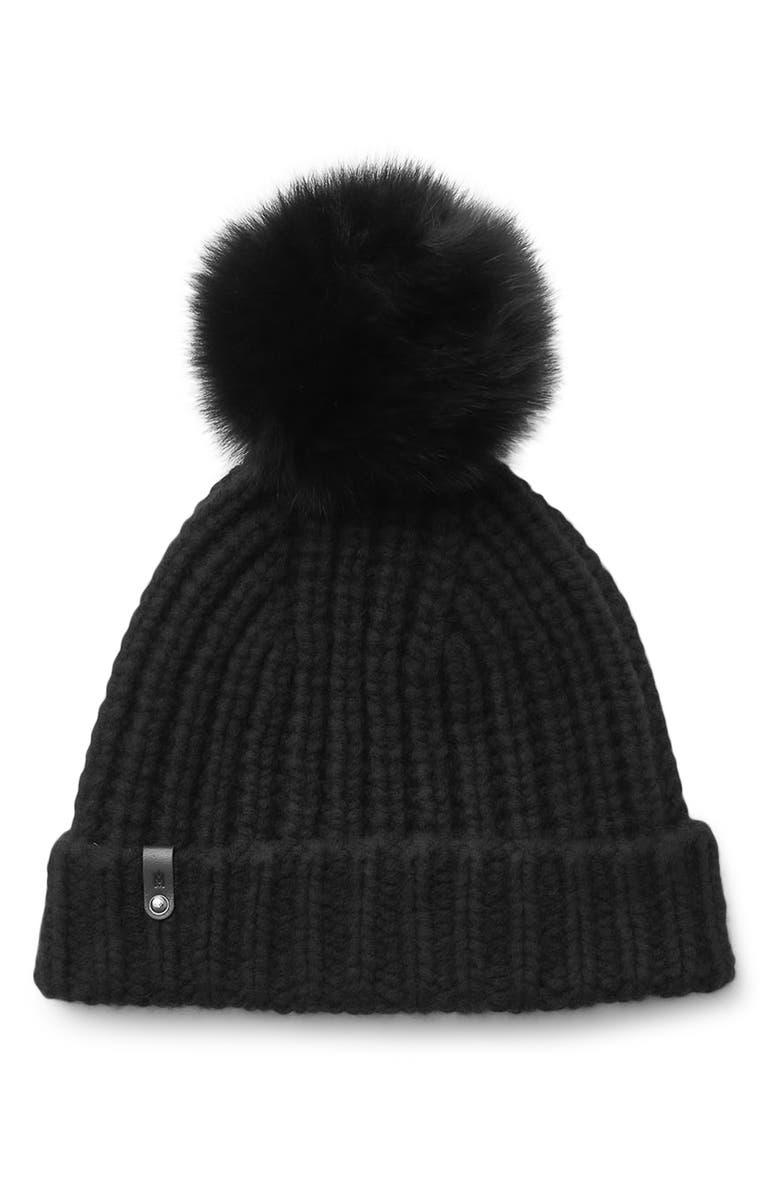 MACKAGE Cashmere & Wool Beanie with Genuine Fox Fur Pom, Main, color, 001