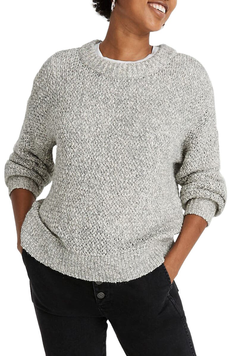 MADEWELL Baez Pullover Sweater, Main, color, MARLED GRAVEL