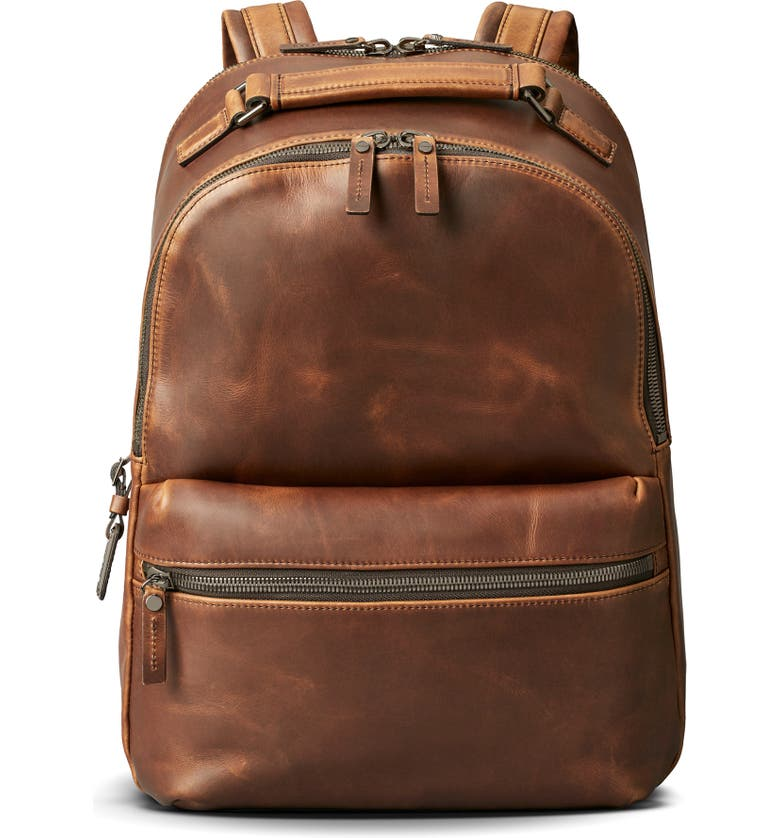 SHINOLA Runwell Leather Backpack, Main, color, MEDIUM BROWN