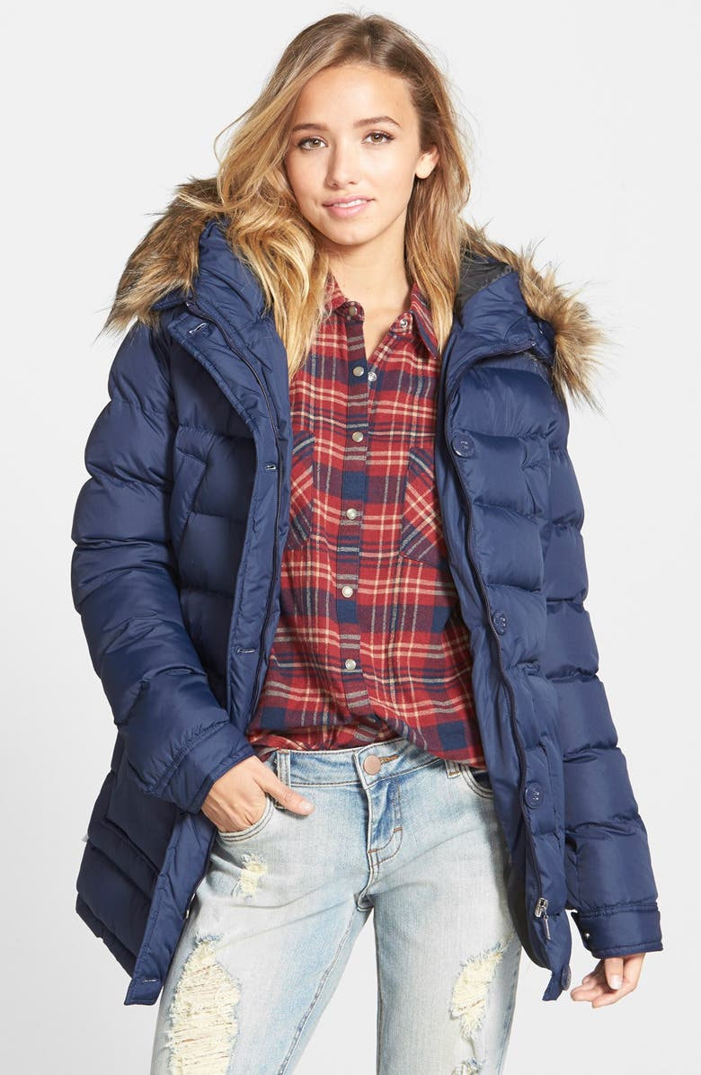 ELEMENT 'Brooke' Faux Fur Trim Hooded Puffer Coat, Main, color, 400