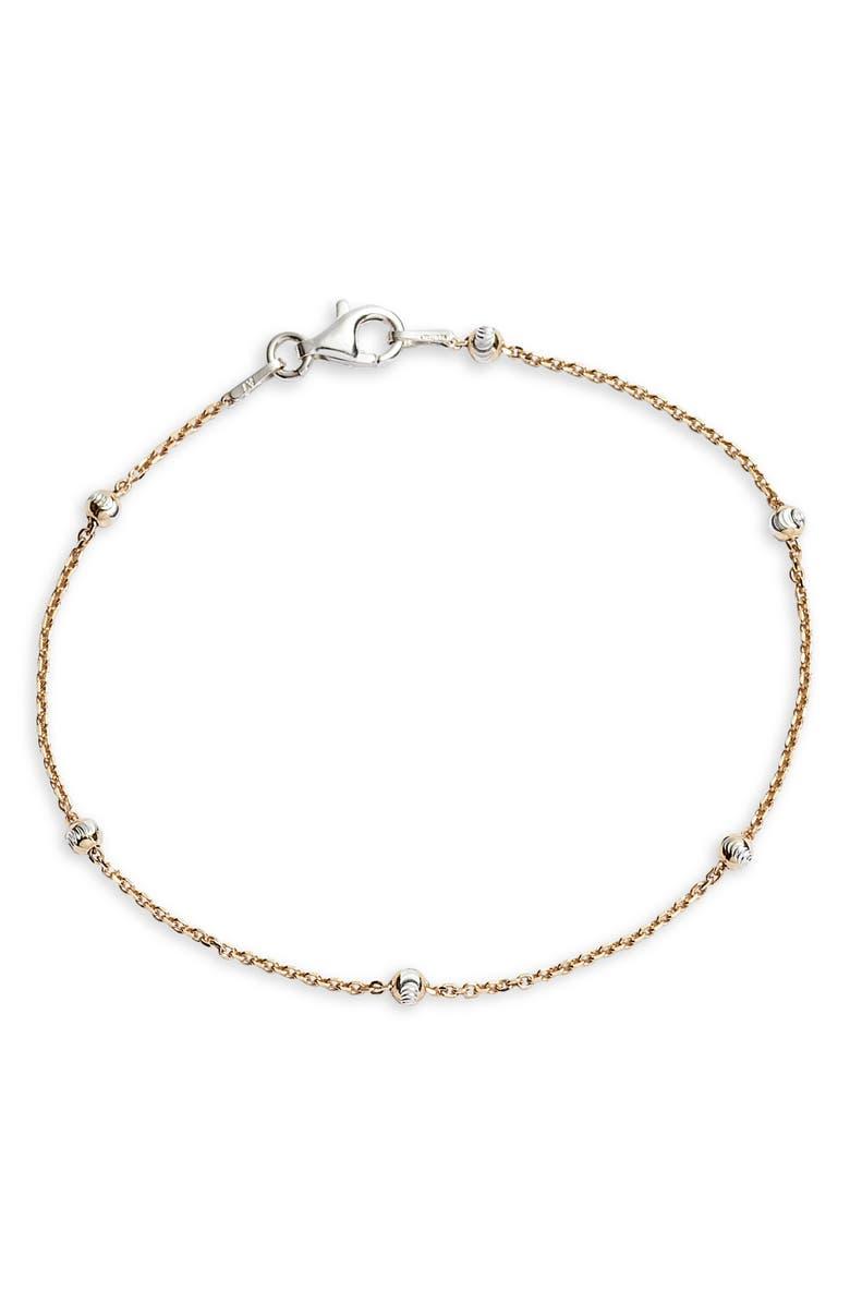 ARGENTO VIVO Ball Station Bracelet, Main, color, GOLD/ SILVER