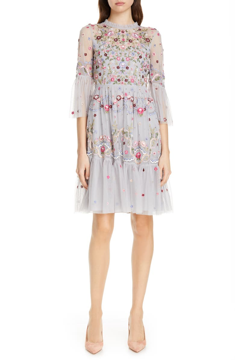 NEEDLE & THREAD Dreamers Embroidered Tulle Dress, Main, color, 400