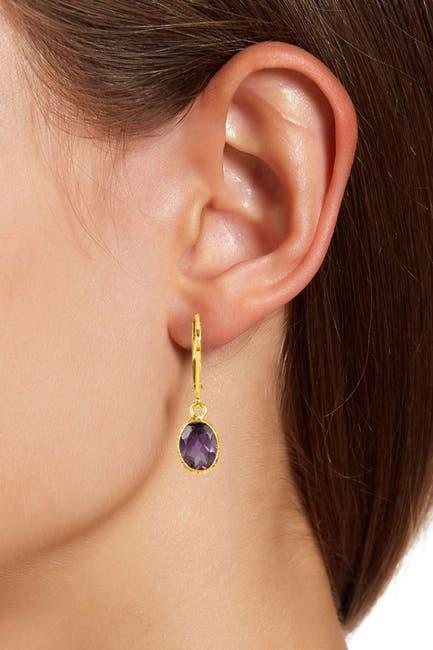Image of Savvy Cie 18K Yellow Gold Vermeil Bezel Set Amethyst Drop Earrings