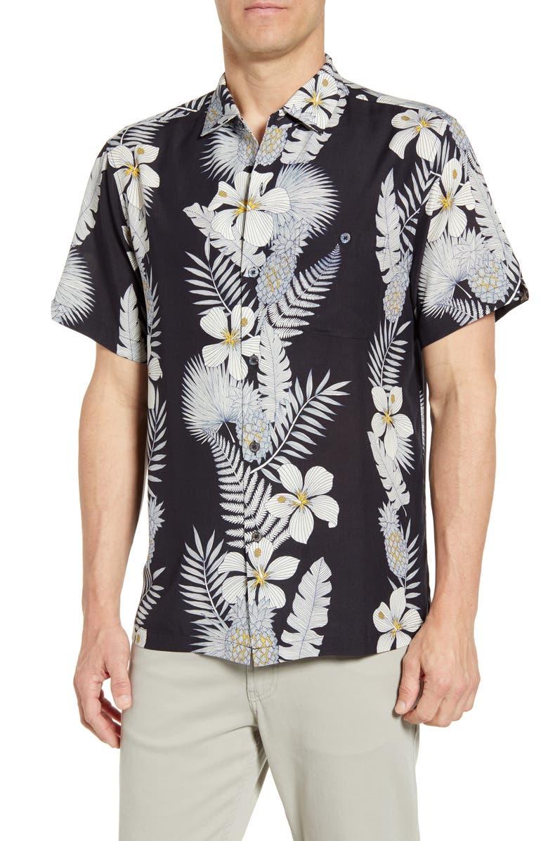 TORI RICHARD Art Nouveau Regular Fit Tropical Short Sleeve Silk Blend Button-Up Sport Shirt, Main, color, BLACK