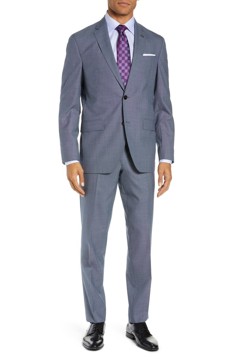TED BAKER LONDON Konan Trim Fit Solid Wool Suit, Main, color, LIGHT BLUE