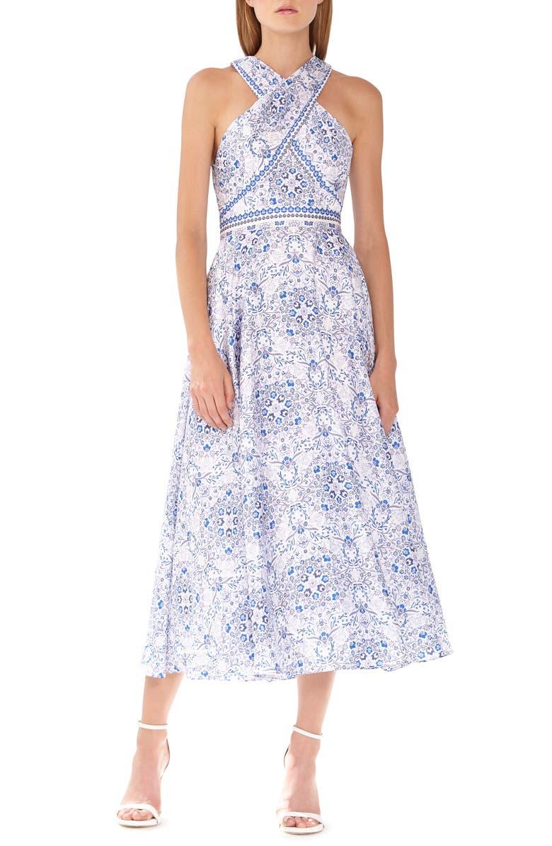 ML MONIQUE LHUILLIER Floral Halter Sundress, Main, color, WHITE BLUE MULTI