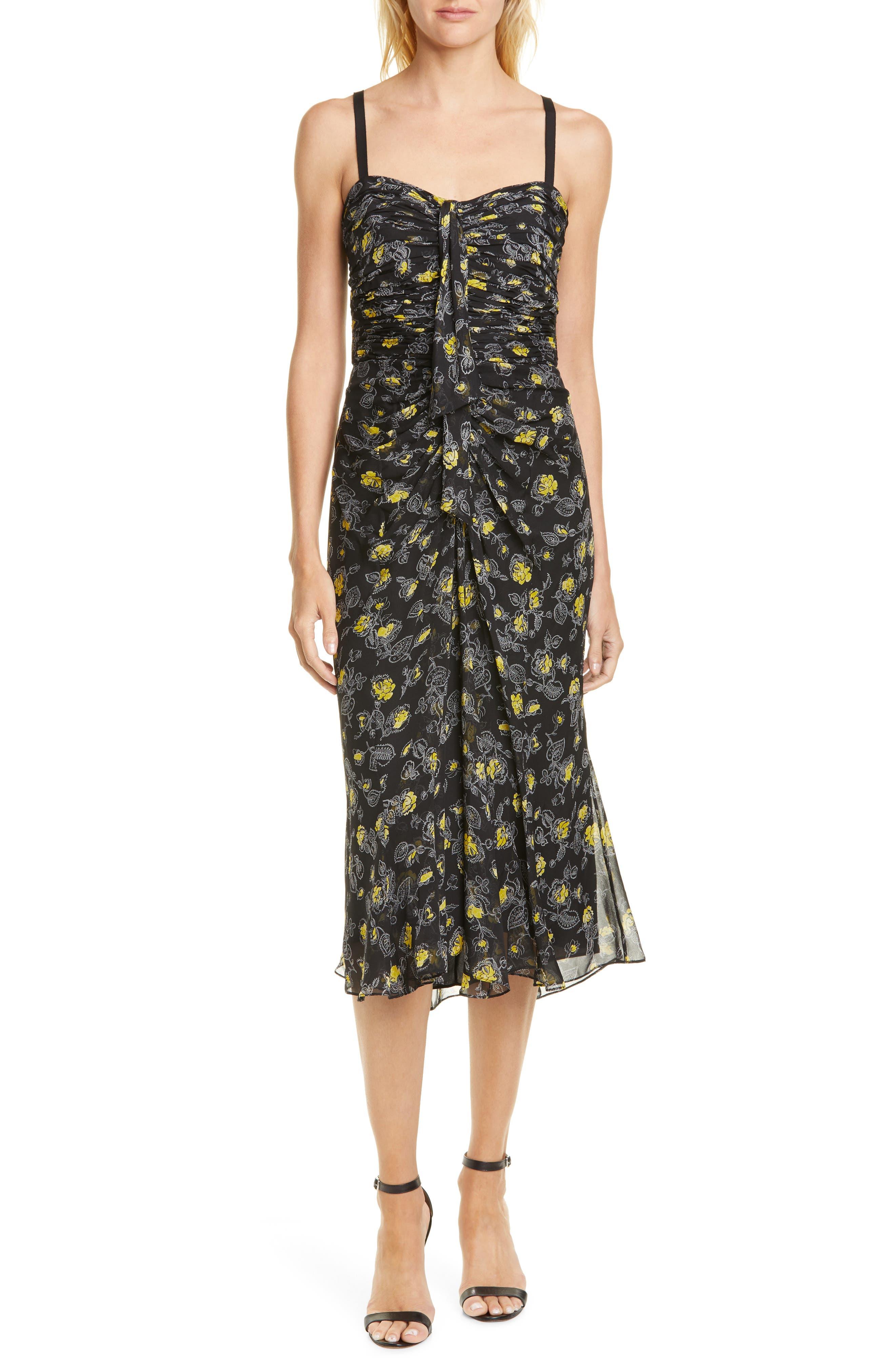Cinq A Sept Margot Ruched Silk Midi Dress, Black