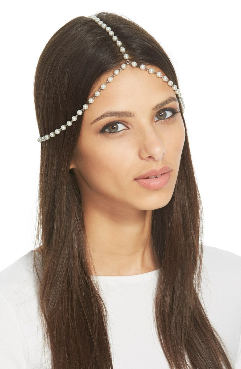TOPSHOP Imitation Pearl Head Chain, Main, color, 900