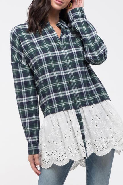 Image of Blu Pepper Twofer Plaid Lace Top