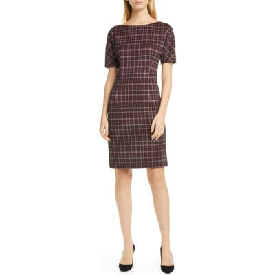 Boss Dilevara Plaid Jersey Sheath Dress, Burgundy