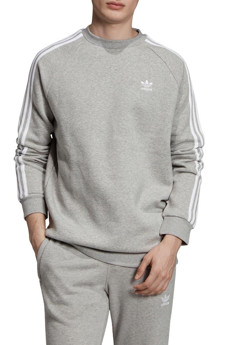 ADIDAS ORIGINALS 3-Stripes Crewneck Sweatshirt, Main, color, MEDIUM GREY HEATHER