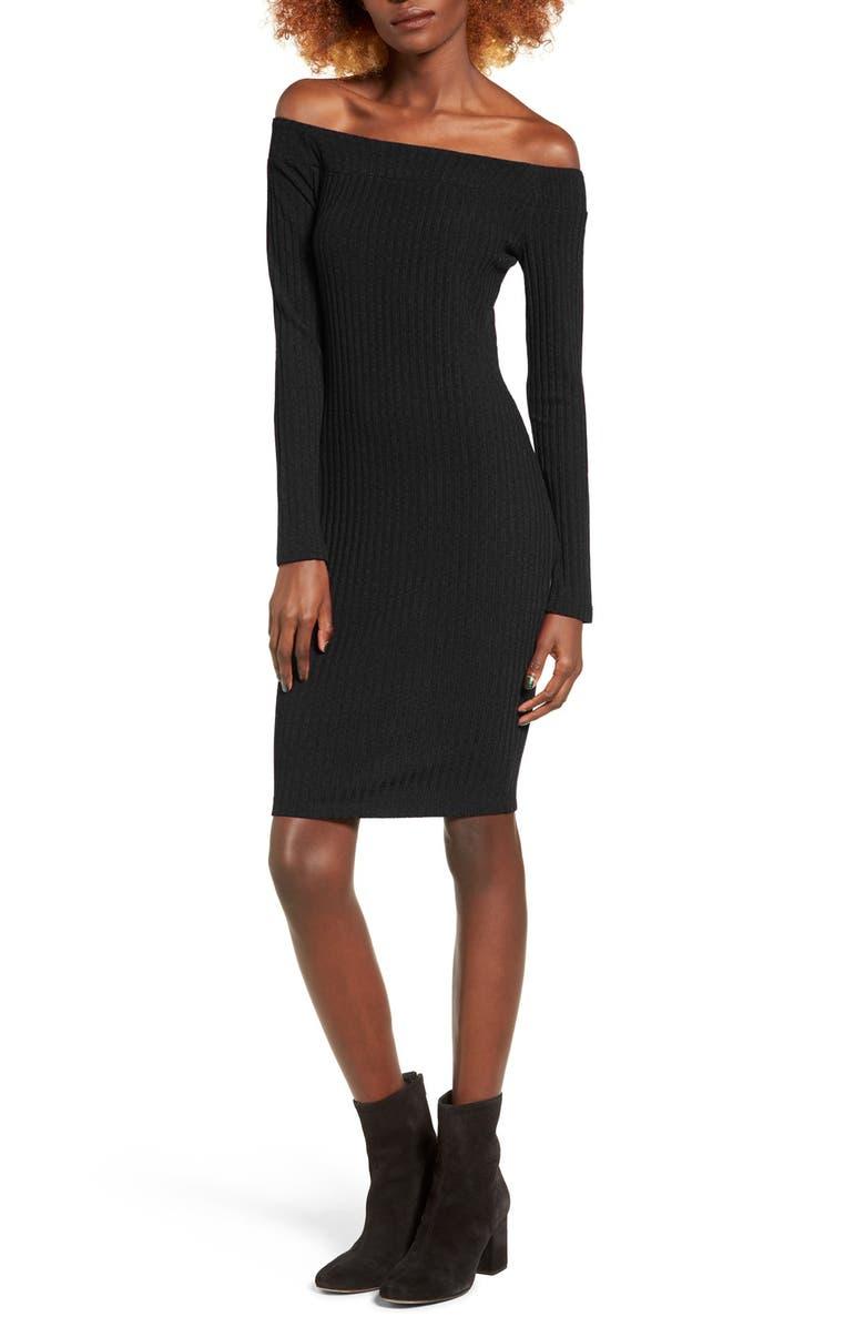 SOCIALITE Off the Shoulder Rib Knit Dress, Main, color, 001