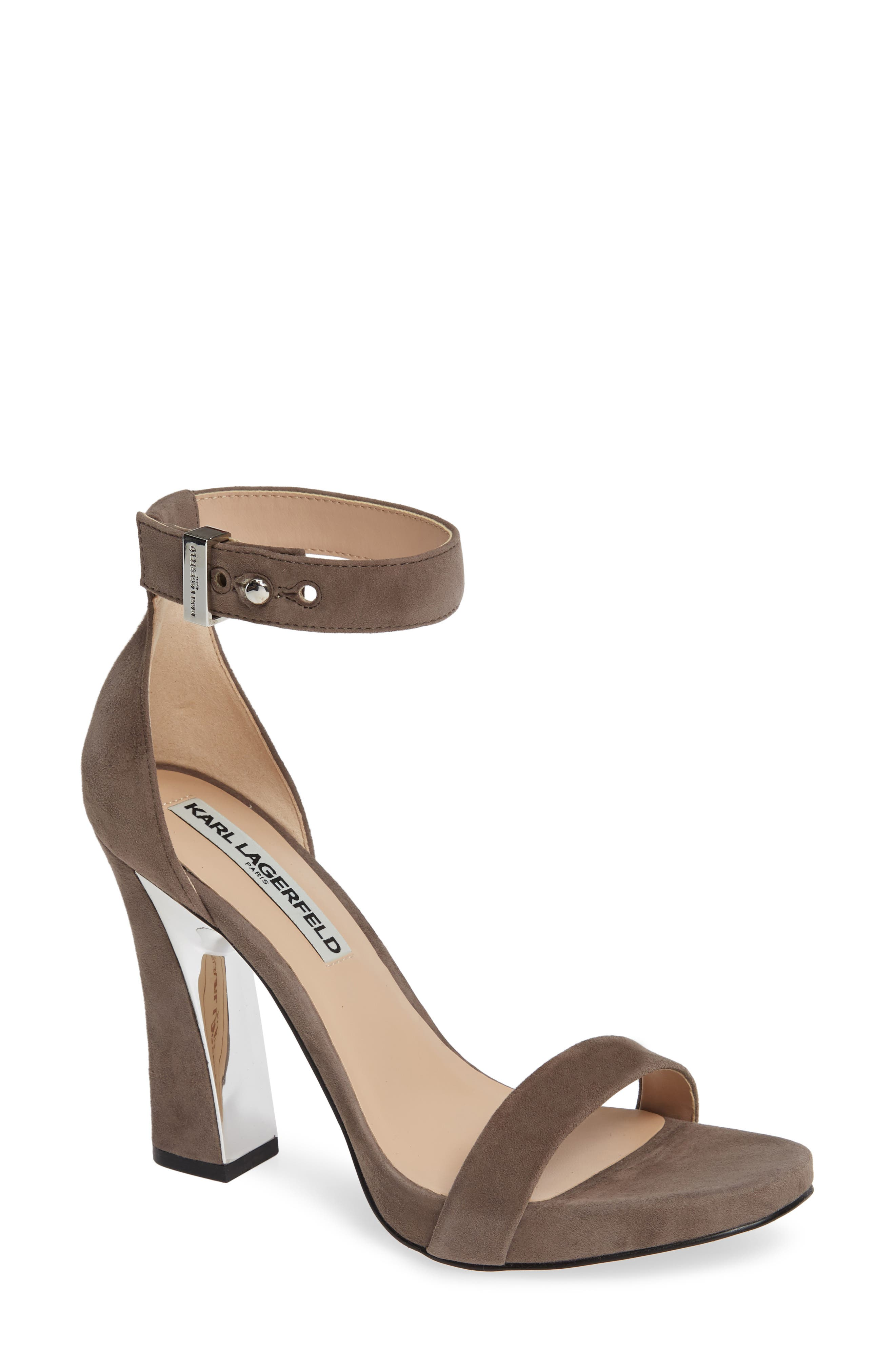 Karl Lagerfeld Paris Carah Ankle Strap Sandal- Grey