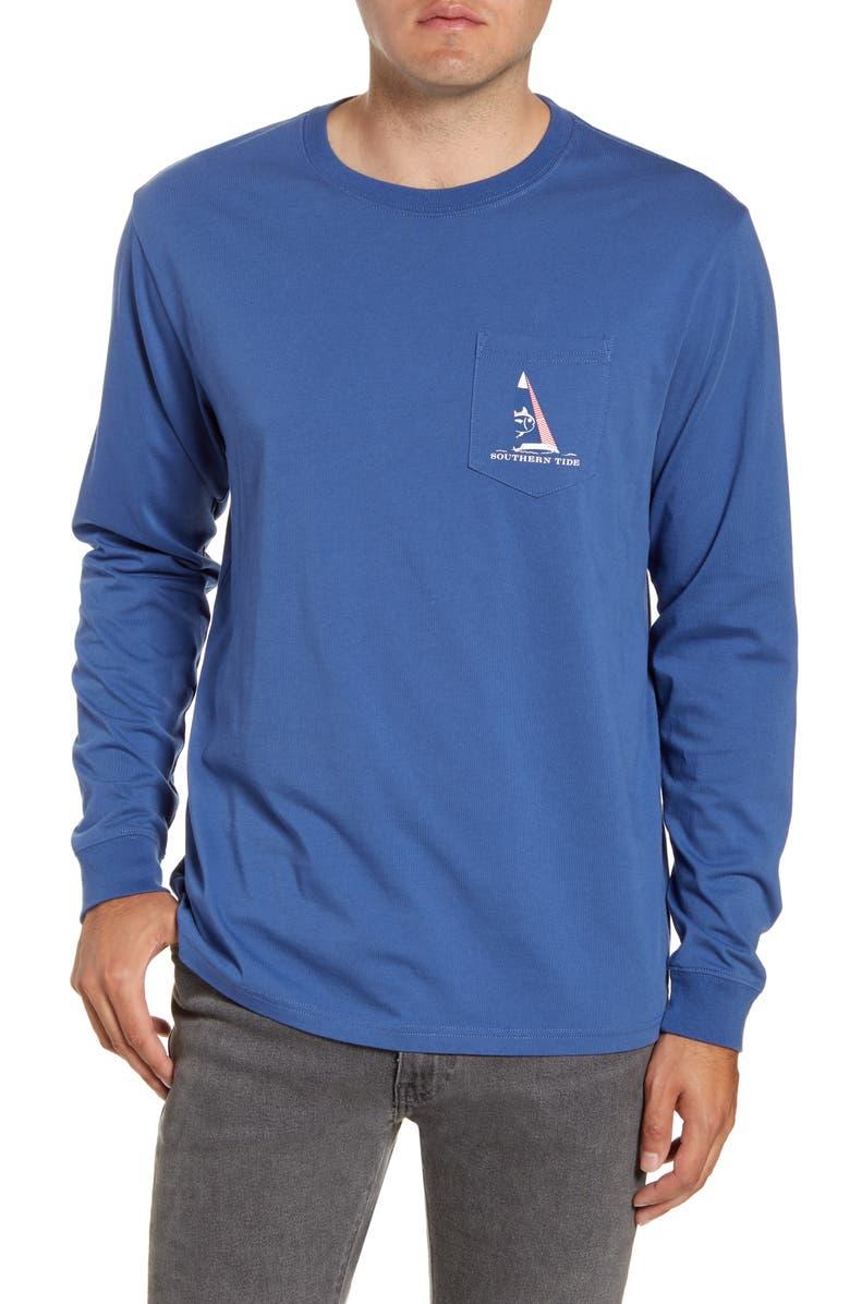 SOUTHERN TIDE Ready Set Sail Long Sleeve Pocket T-Shirt, Main, color, SEVEN SEAS BLUE