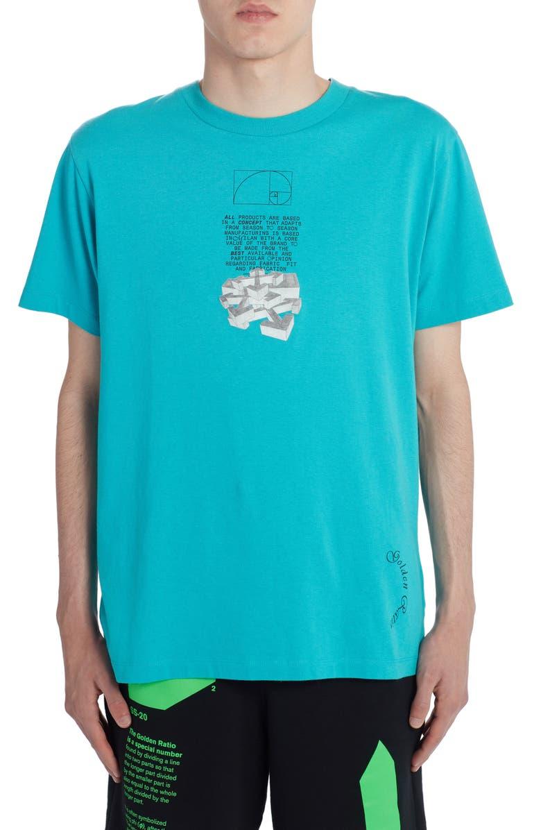 OFF-WHITE Arrows Graphic Short Sleeve Slim T-Shirt, Main, color, PETROL BLUE