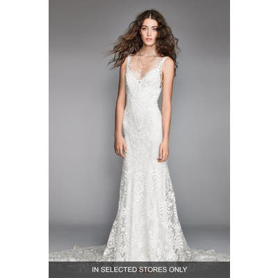 Willowby Corella Embroidered Lace & Charmeuse Mermaid Gown, Size IN STORE ONLY - Ivory