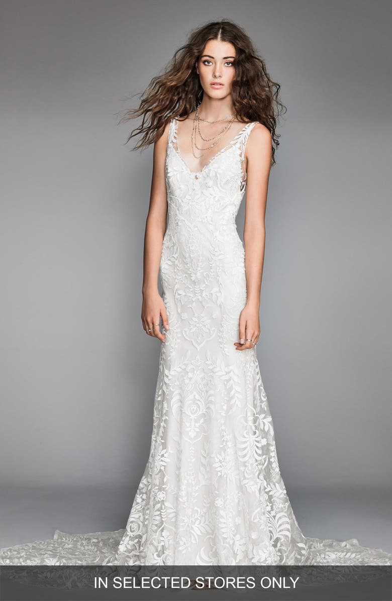WILLOWBY Corella Embroidered Lace & Charmeuse Mermaid Gown, Main, color, IVORY/ IVORY