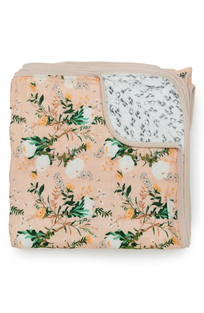 LOULOU LOLLIPOP Blushing Protea Muslin Quilt, Main, color, BLUSHING PROTEA