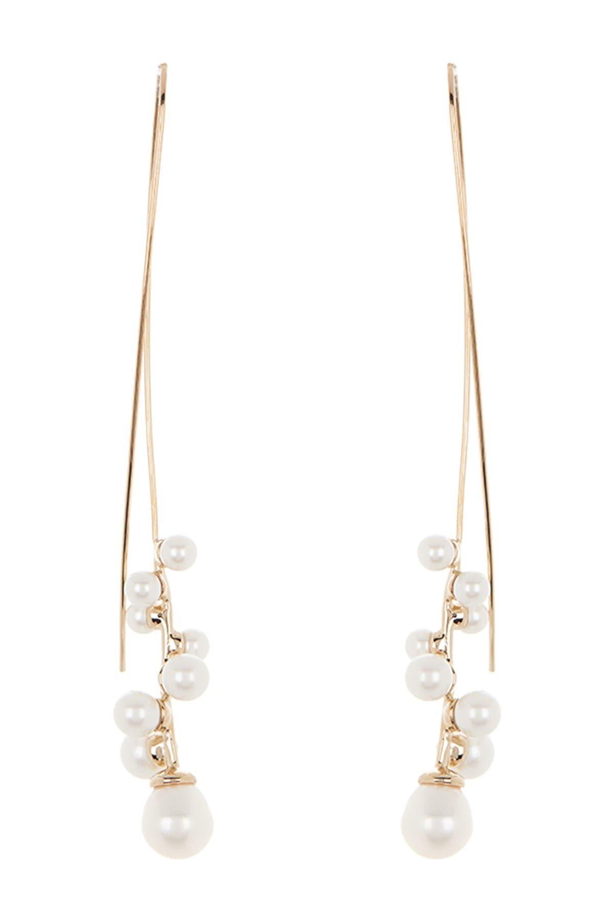 Image of Carolee Spiral Freshwater Pearl Threader Earrings