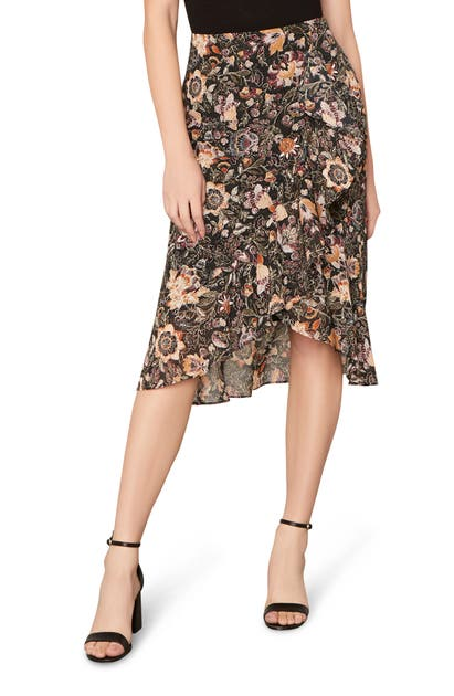 Cupcakes And Cashmere CASEY FLORAL WRAP FRONT SKIRT