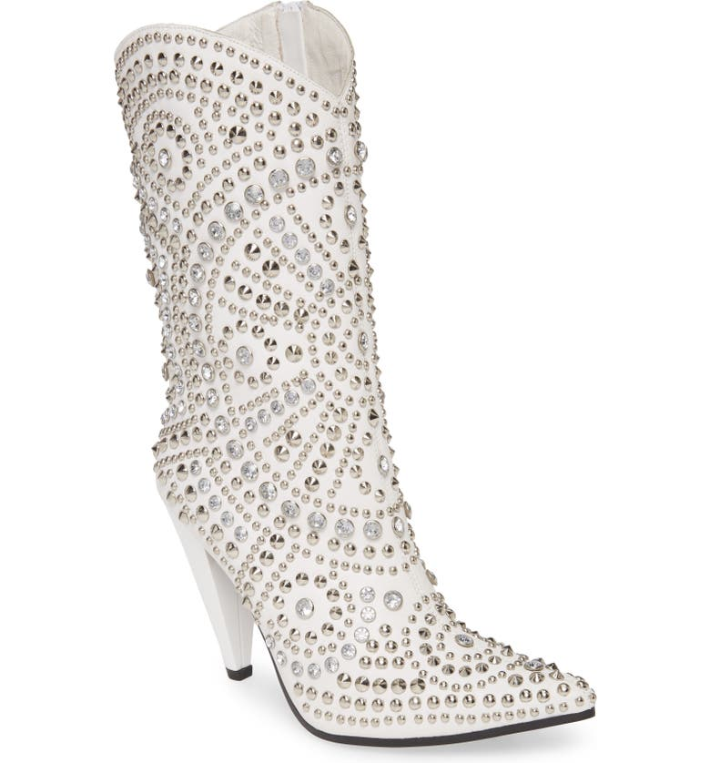 JEFFREY CAMPBELL Studlet Western Boot, Main, color, WHITE SILVER