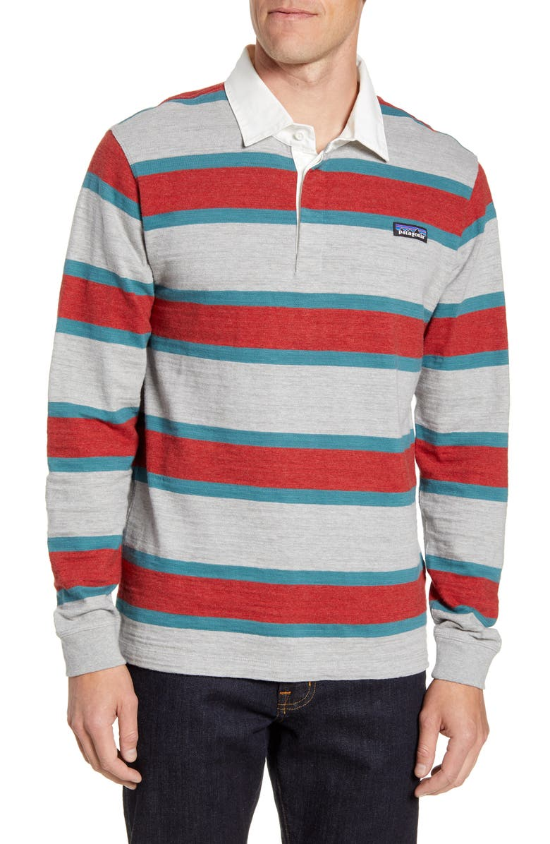 PATAGONIA Rugby Stripe Polo Shirt, Main, color, RUGBY DRIFTER GREY