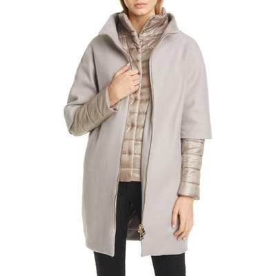 Herno Wool Blend Cocoon Coat With Removable Sleeves & Bib, US / 40 IT - Beige