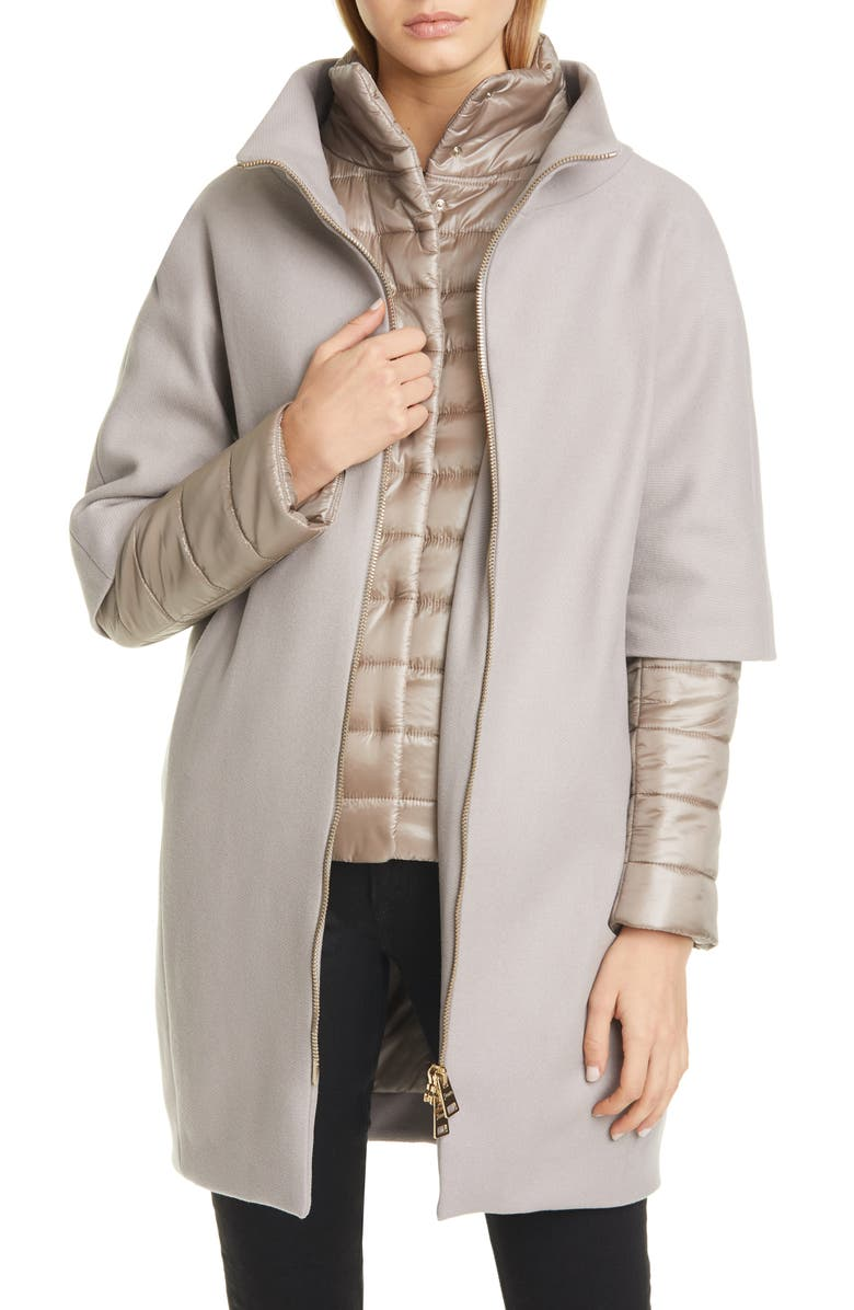 HERNO Wool Blend Cocoon Coat with Removable Sleeves & Bib, Main, color, TAUPE
