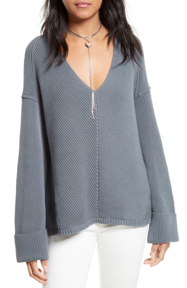 FREE PEOPLE La Brea V-Neck Sweater, Main, color, 028